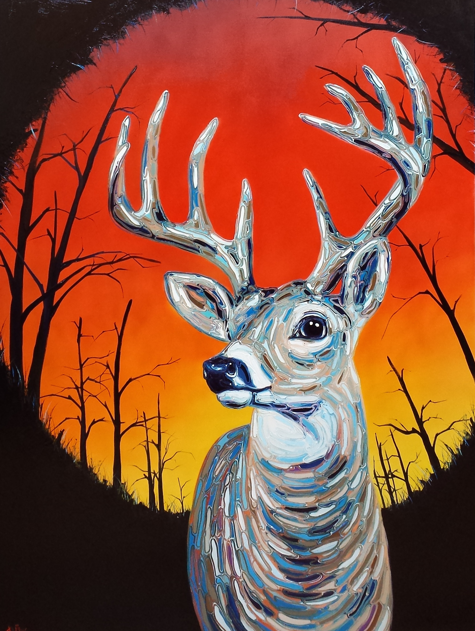 Buck at Sunrise - Oil on Canvas - 36x48