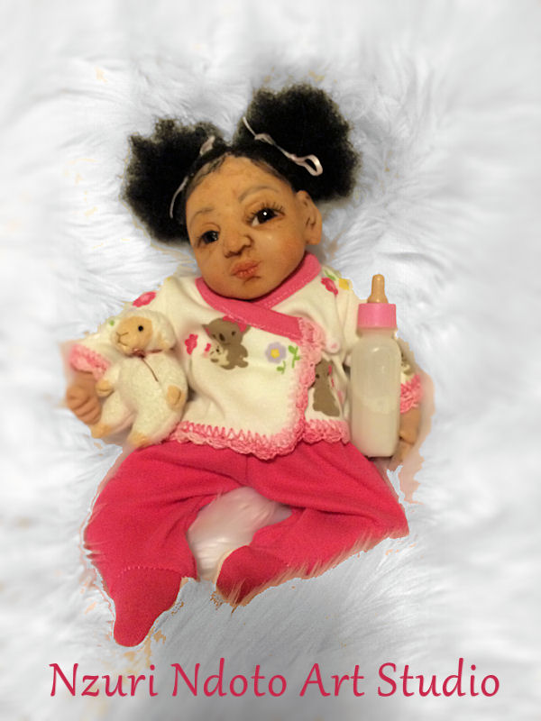"""Baby Nthanda: 10"""" Polymer Clay Partial Sculpture"""
