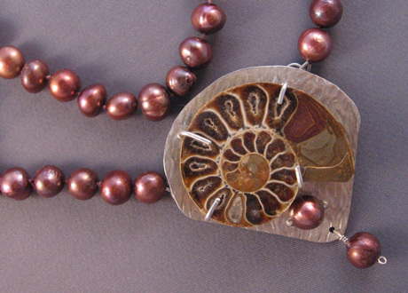 Pendant of Fossilized Ammonite, Sterling Silver and Rose Pearls
