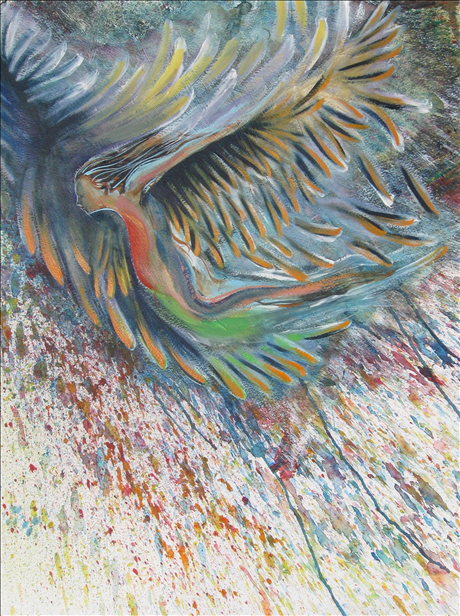 Bird Icarus, 22x30 inches, mixed media on paper