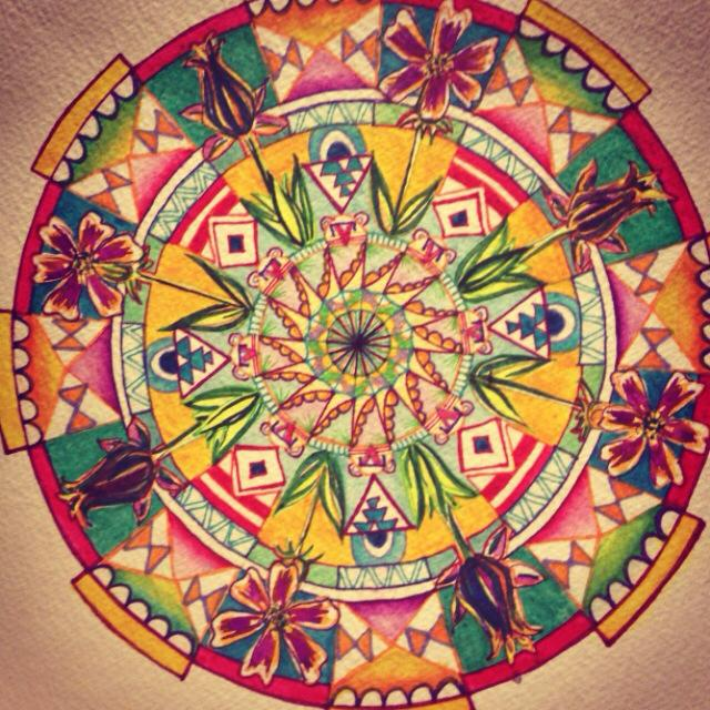 Missihippie Mandala watercolor on paper