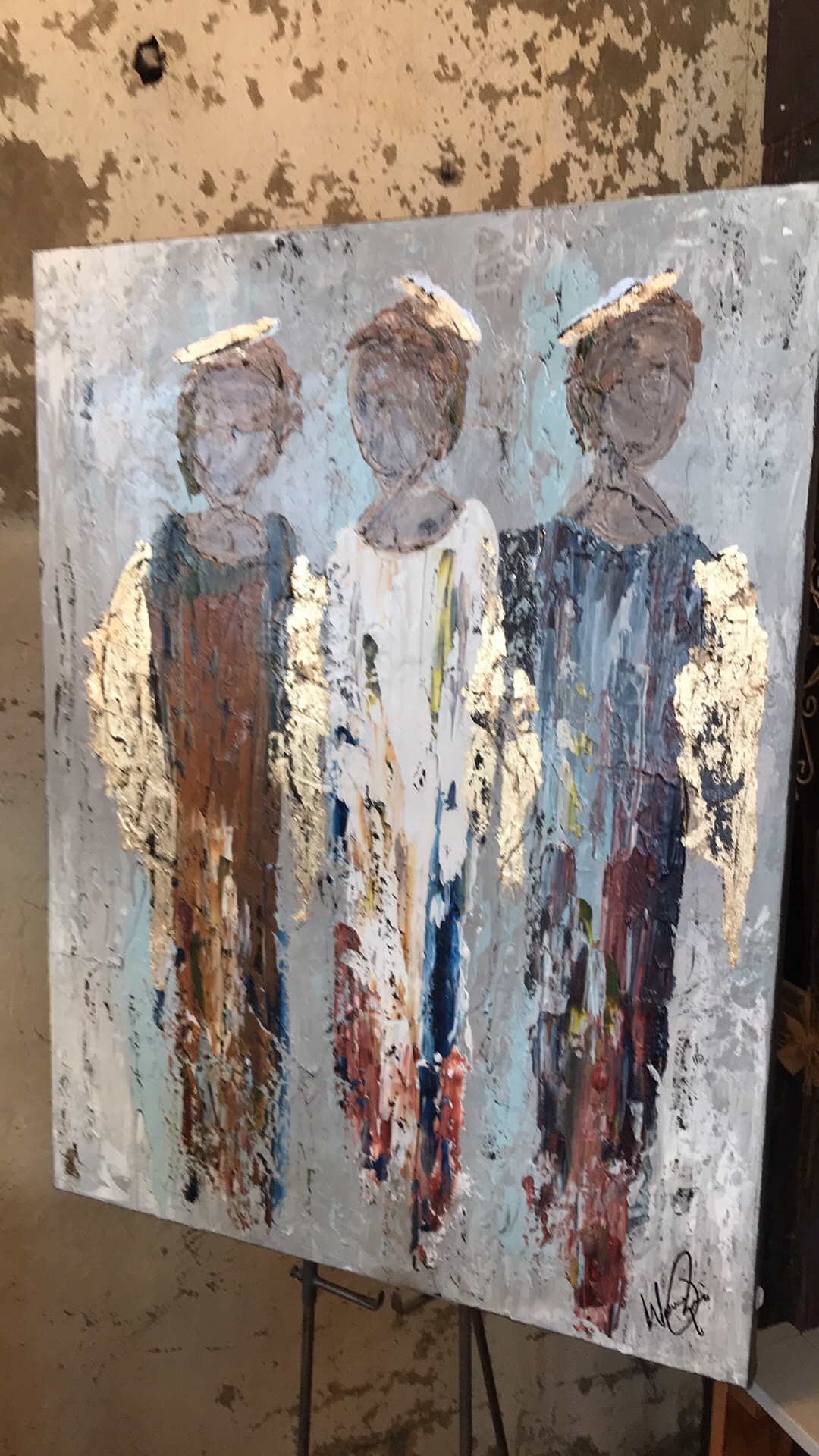 Standing Guard- heavy Impasto using palette knives,brush, acrylics,papers and gold leaf