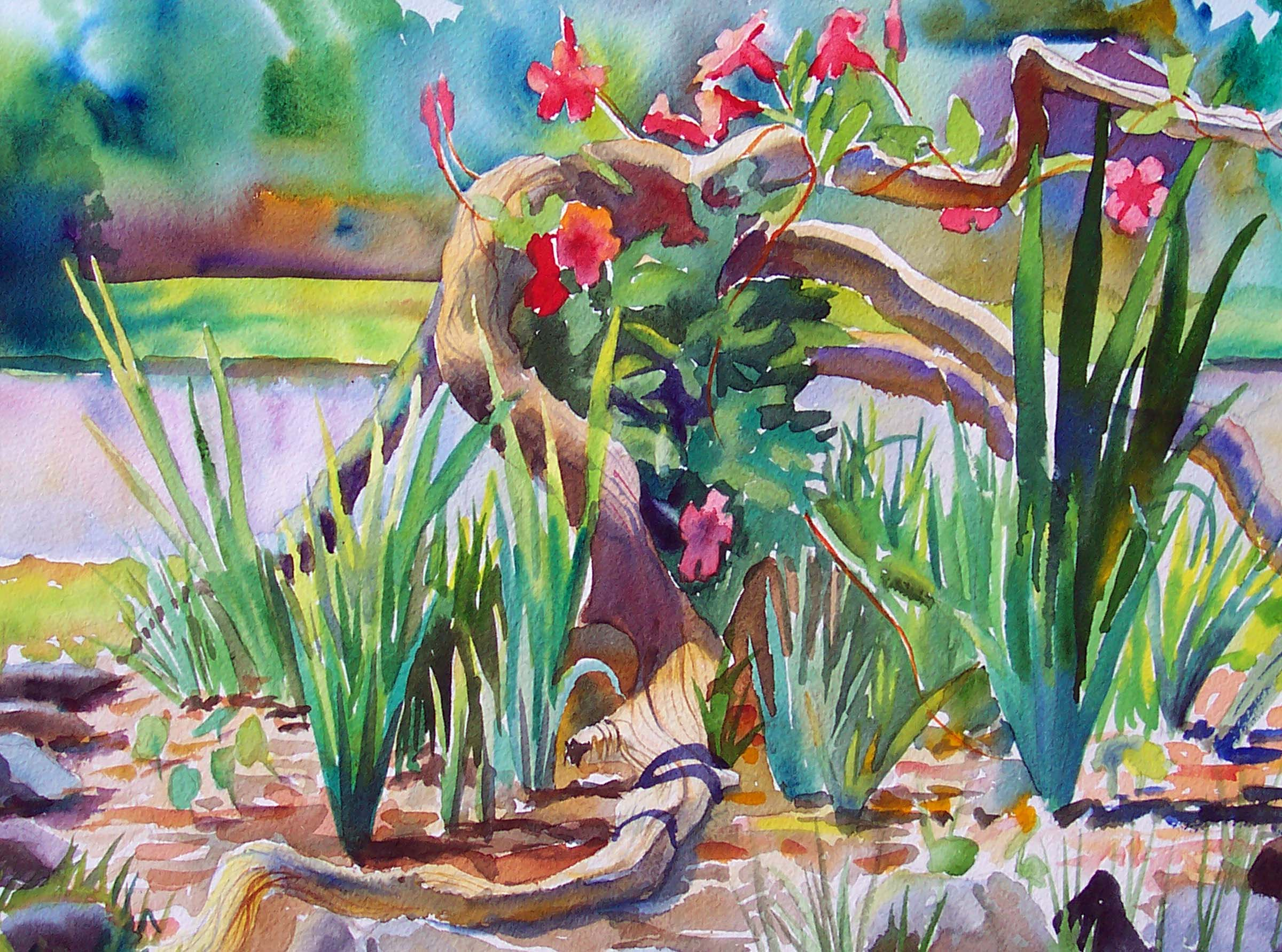 Irises and Driftwood, Watercolor on Paper, 16