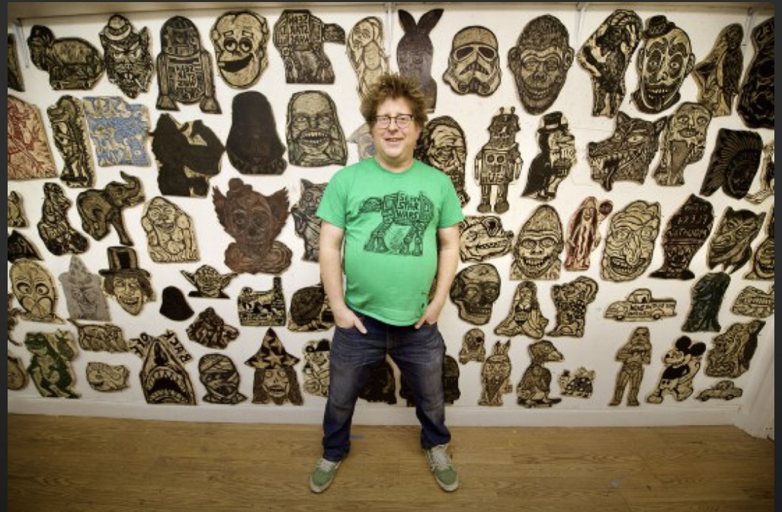 Sean with his T-shirt blocks in the Woodcut Funhouse