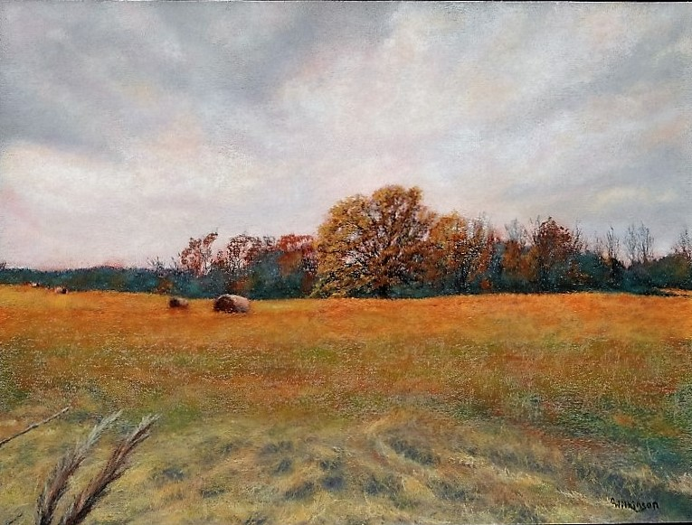 Autumn Field with Hay, 9 x 12, pastel