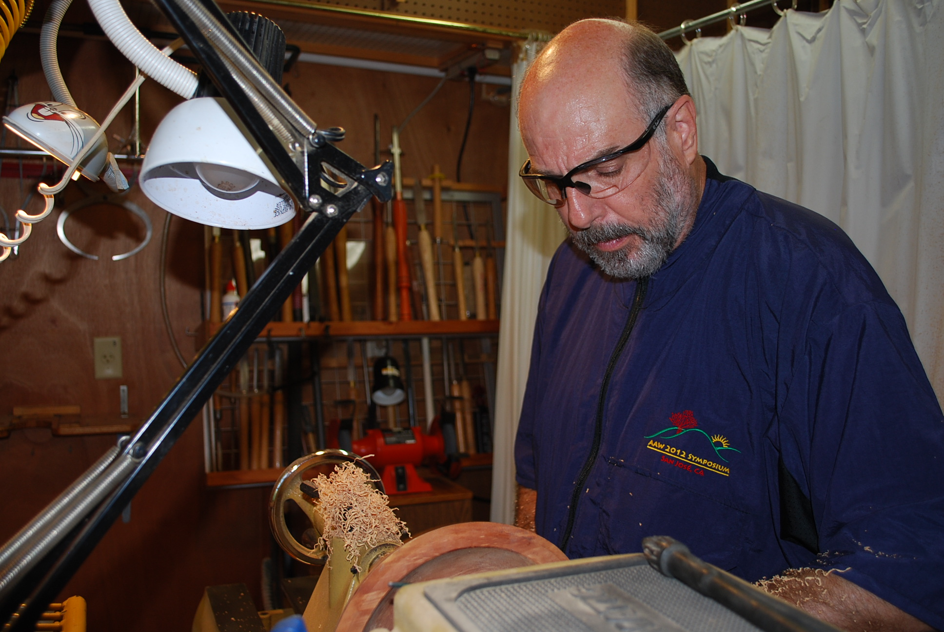 Terry working at the lathe.