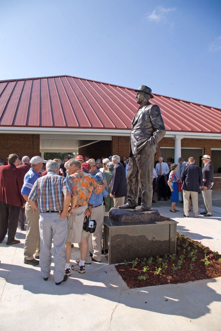 Ben Watts' sculpture of Coach Dobie Holden for Pearl River Community College, Poplarville, MS.