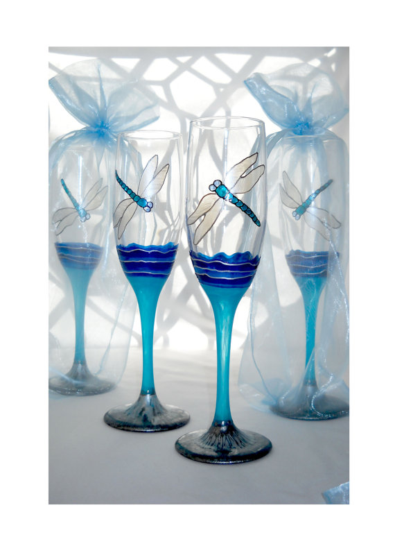 Blue Dragonfly Turquoise Stem Flutes w platinum marbled finish on base of hand painted glassware