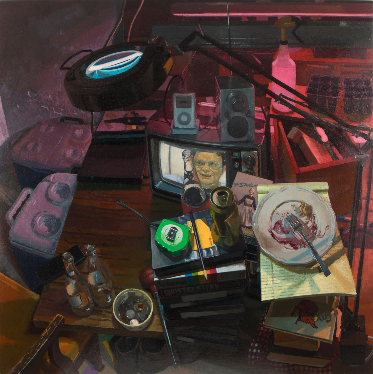 Dusty's Workspace, oil on muslin on panel, 2011