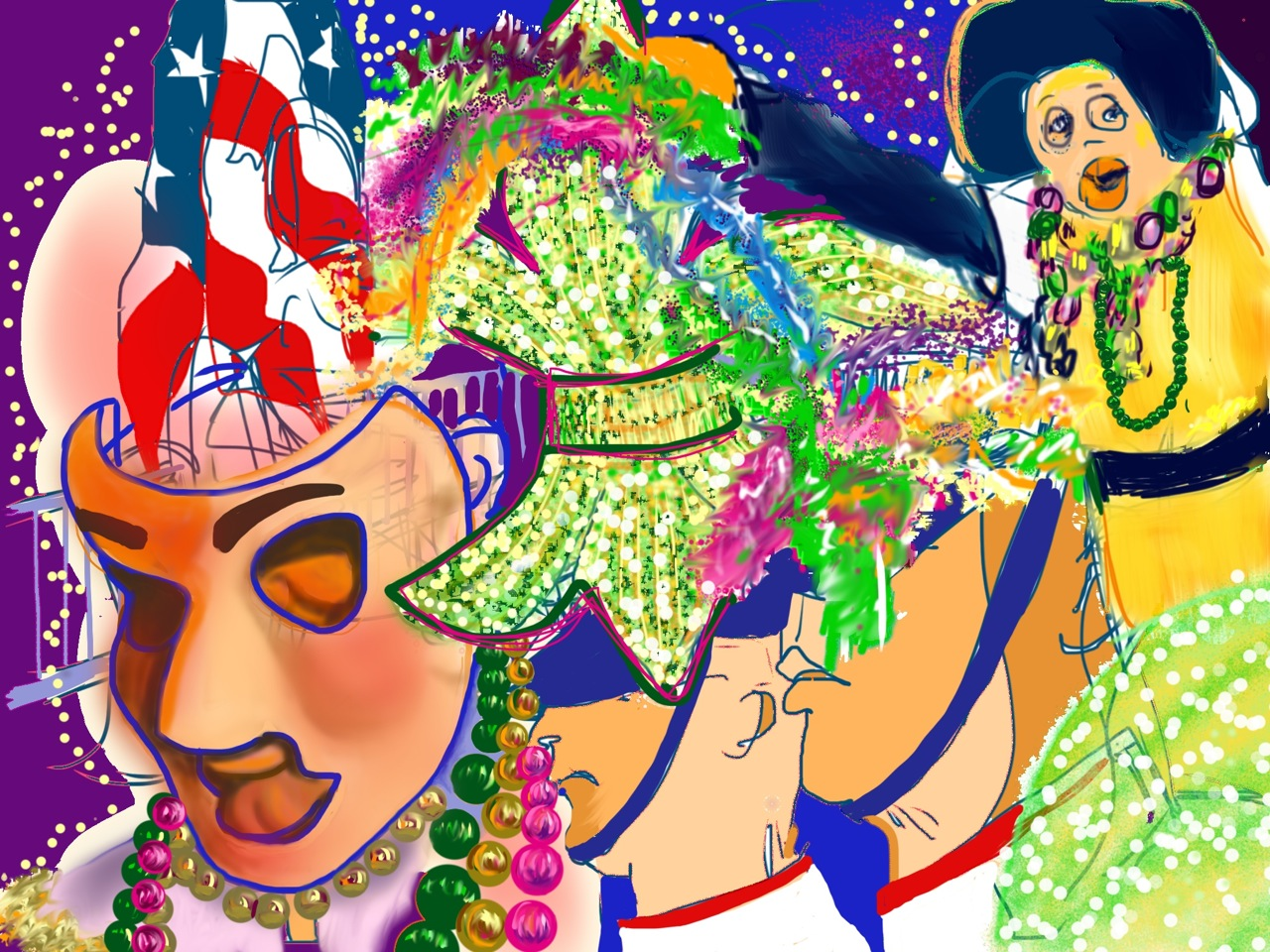 Digital Art - 17 x 13 inches on paper - New Orleans Mardi Gras series
