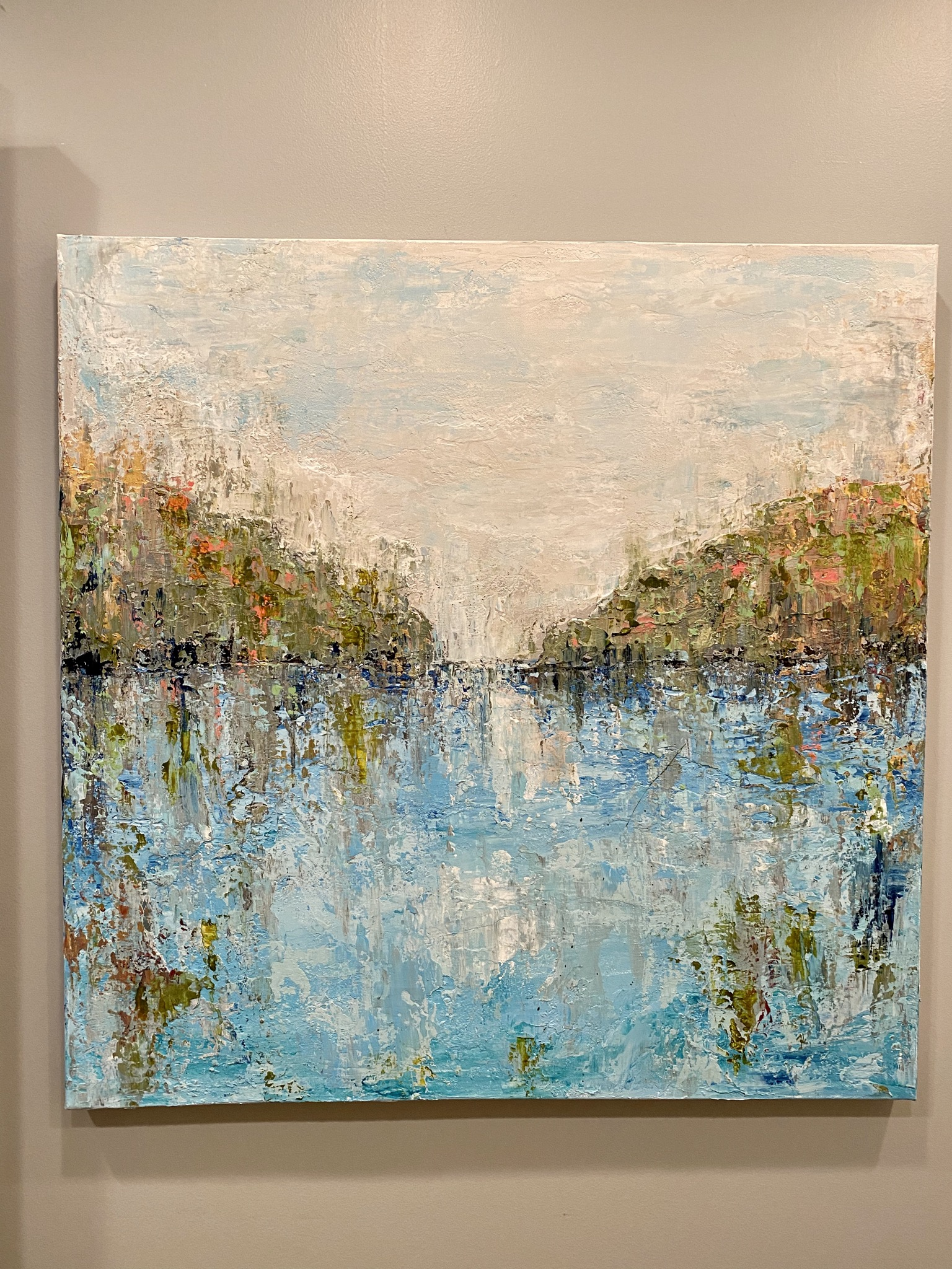 New Day - 1 in a series- heavy Impasto using palette knives and brush, papers, acrylics