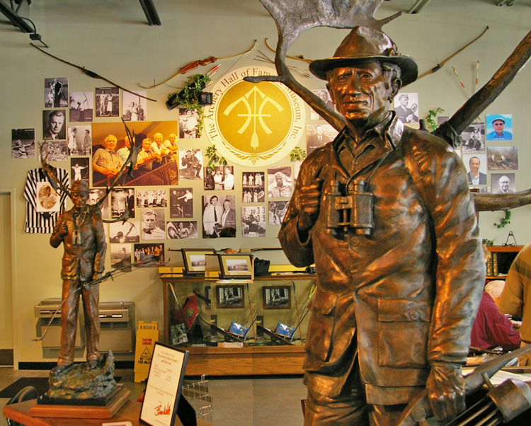 Ben Watts' sculpture of Legendary archer Fred Bear at Bass Pro Shop's National Archery Hall of Fame in the Wonder of Wildlife Museum in Springfield, MO.