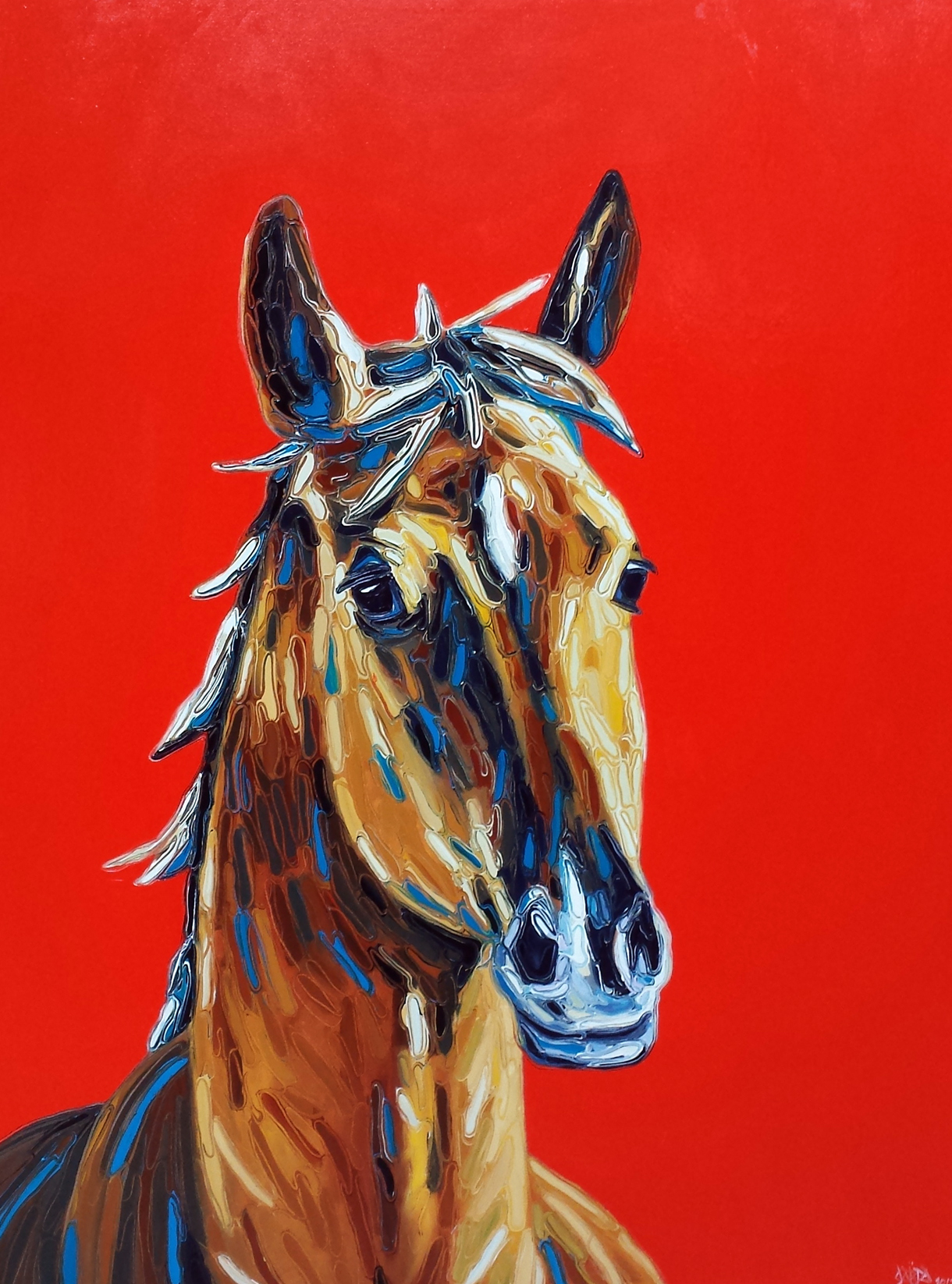 Horse on Red - Oil on Canvas - 28x42
