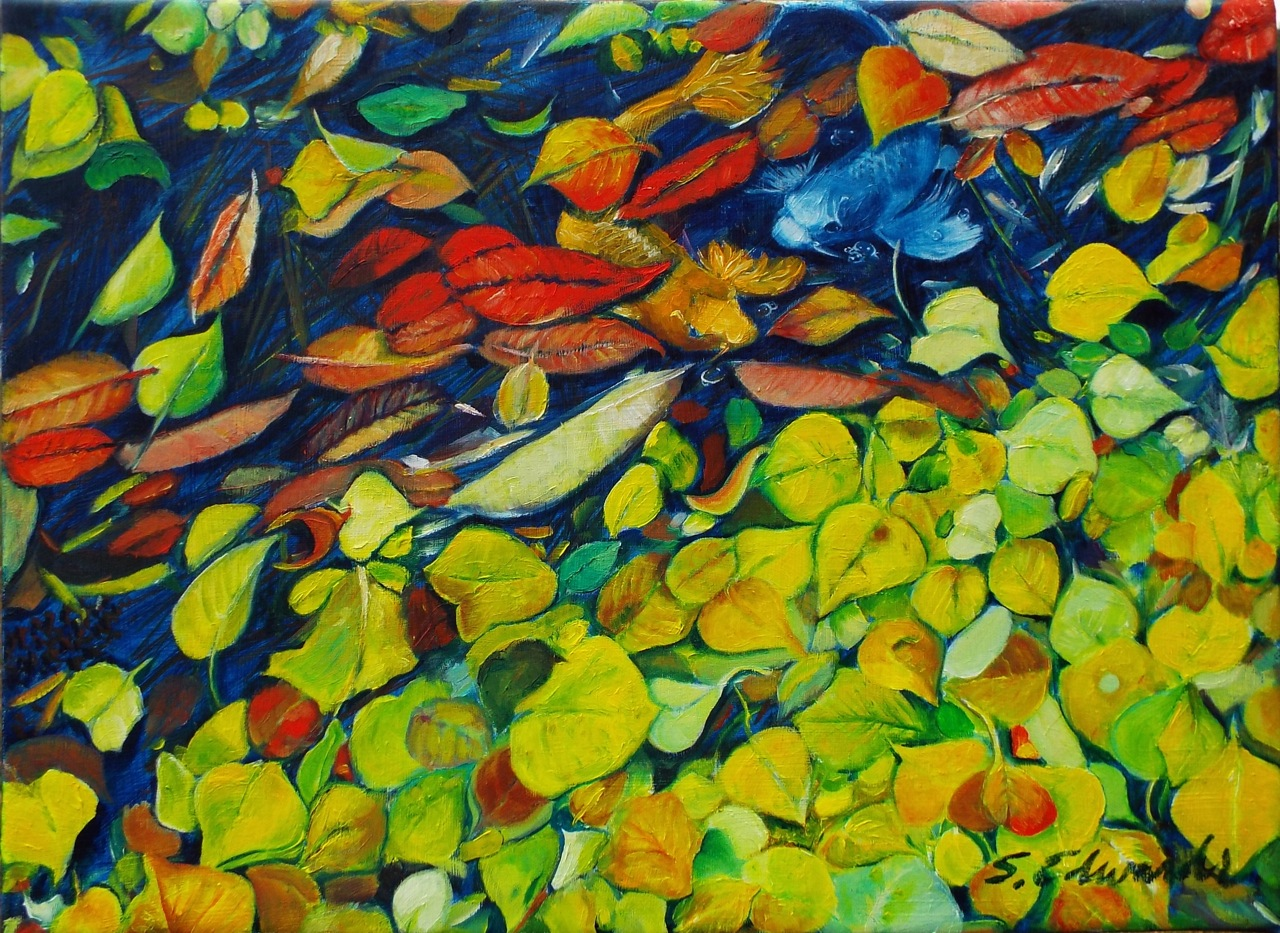 Leave and Fishes - Oil painting on canvas - 19 x 14 inches