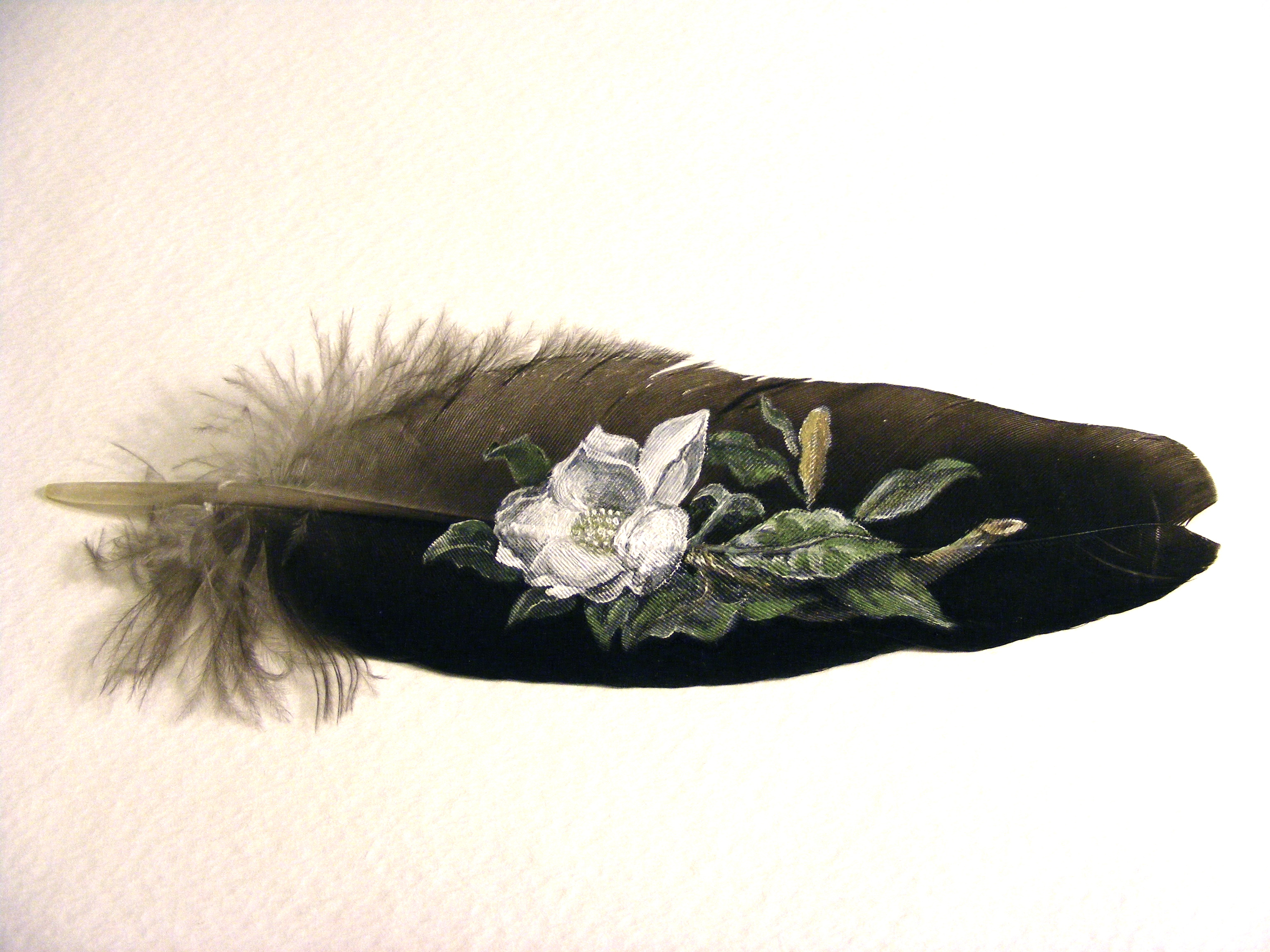 Mississippi Magnolia. Acrylic on peacock wing feather.