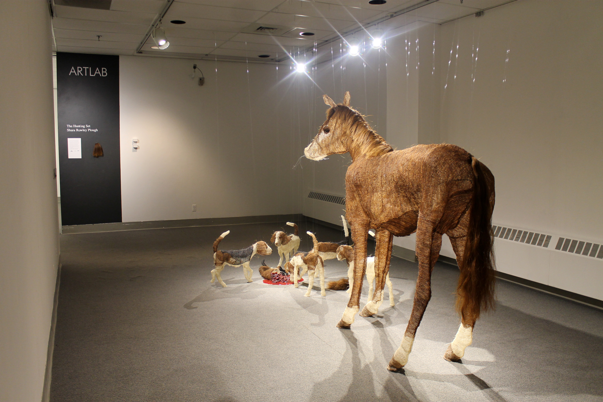 'The Hunting Set,' Horsehair, monofilament, nylon fabric, glass, acrylic paint, and resin. 2014. Art Lab at the Art Museum at the University of Memphis, July 11 - September 12, 2014. This project was funded in part by a grant from the Mississippi Arts Commission.