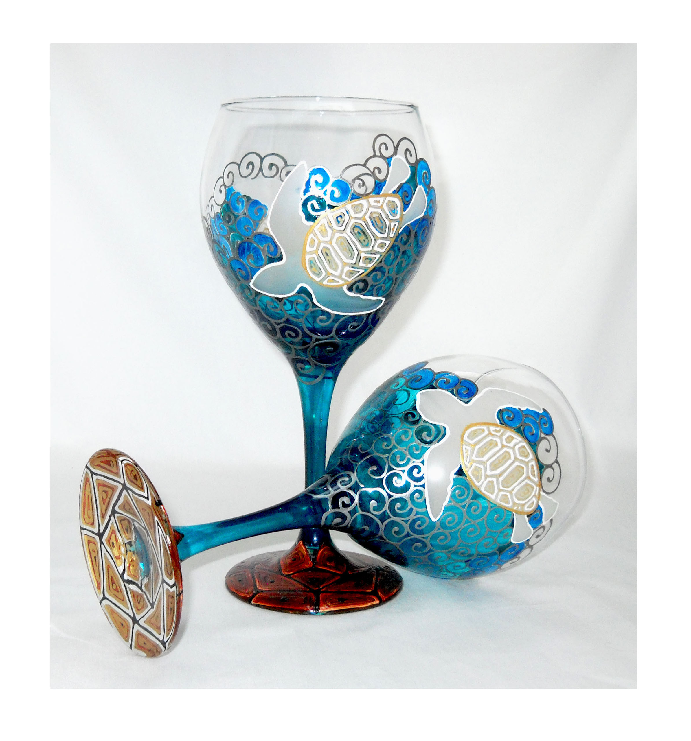 Sea Turtle Goblets hand painted glassware 20 oz. 'GalaxSea' Collection