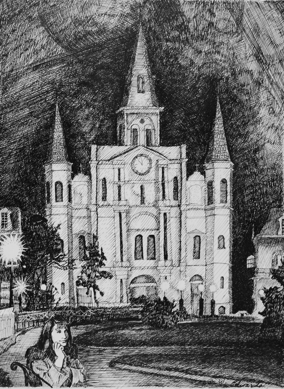 St. Louis Cathedral - Pen and Ink drawing - 11 x 8 Inches