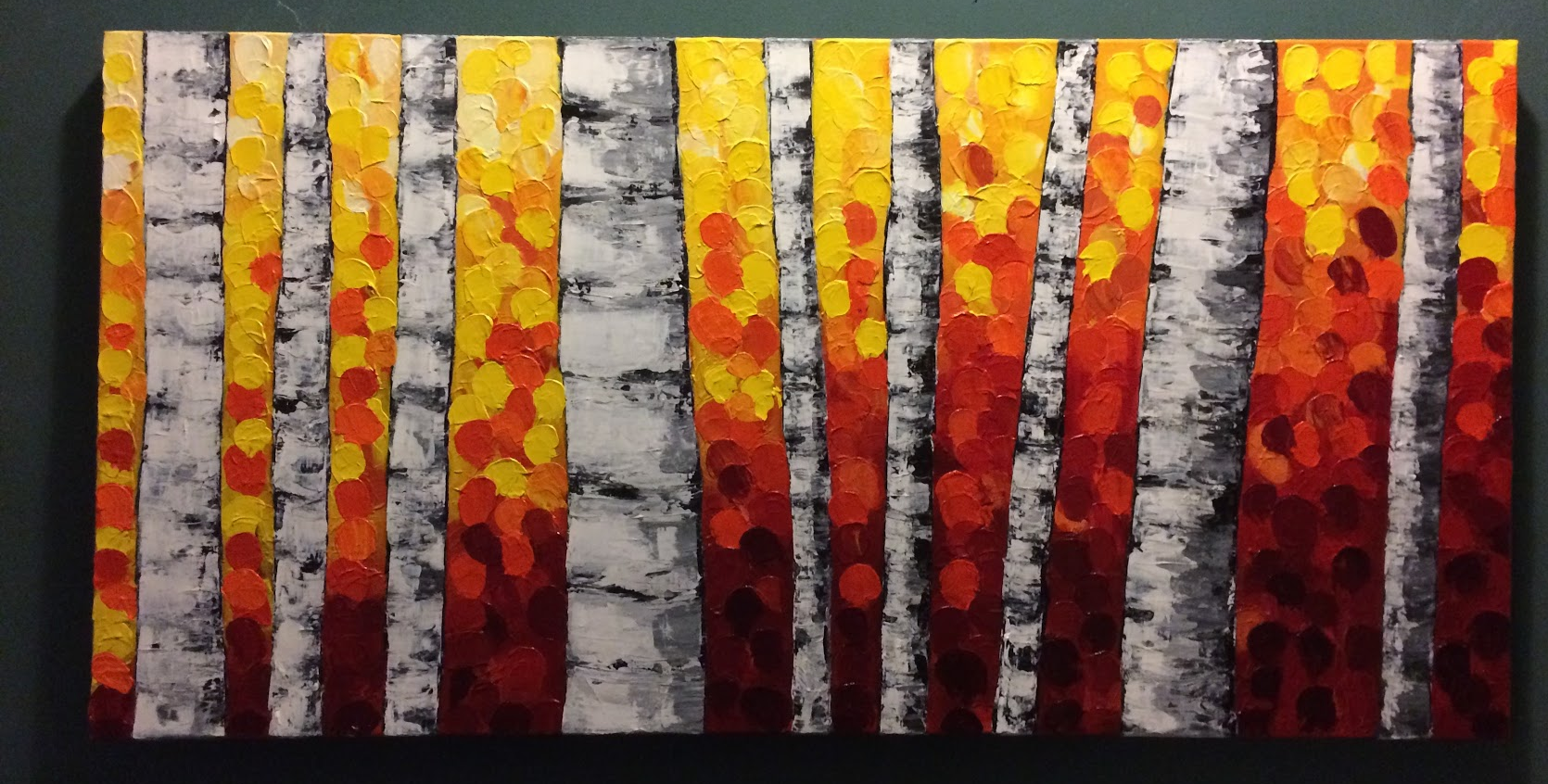Abstract Trees, acrylic on canvas, pallet knife