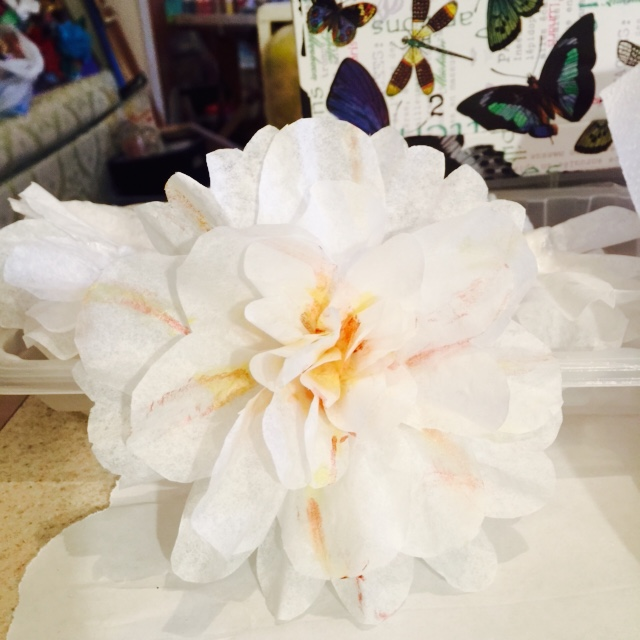 Paper flower made from coffee filter
