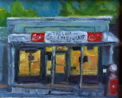 Taylor Grocery    8 inches by 10 inches  oils on canvas