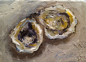 Gulf Oysters   5 inches by 7 inches   oils on canvas