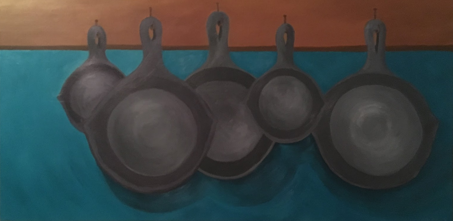 cast iron pans, acrylic on canvas