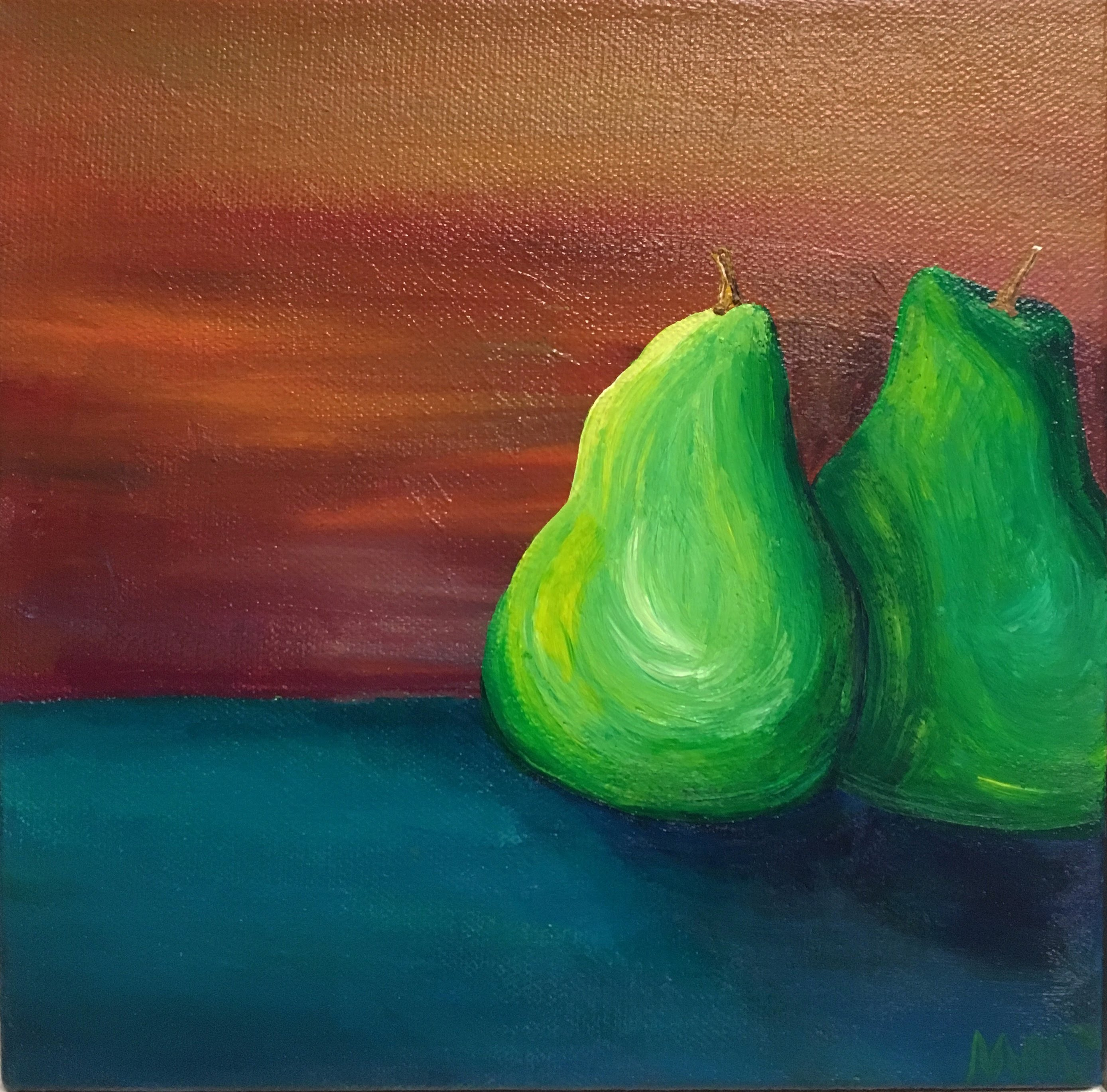Pears, acrylic on canvas