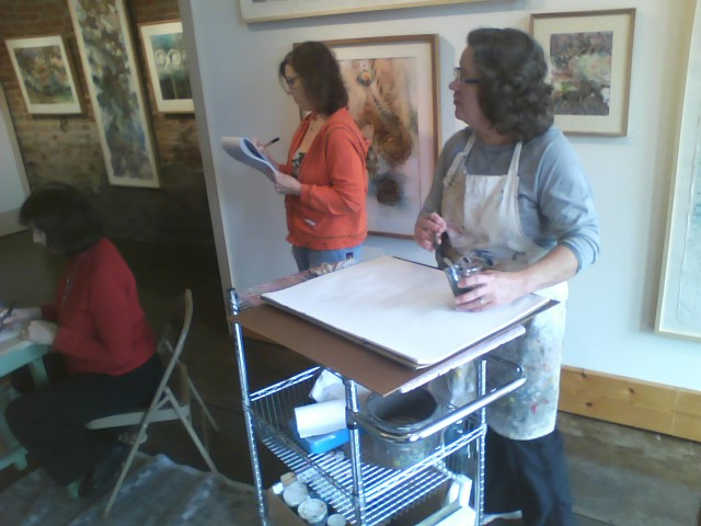 Saturday workshop at Bozarts with Lyn Kartiganer, Mari Foster, and Cindy Aune