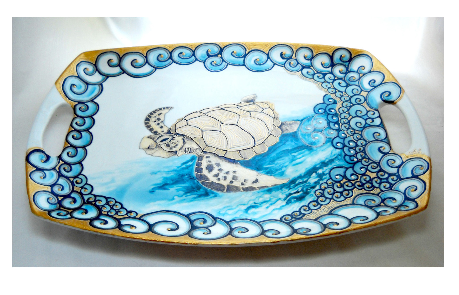 Large porcelain serving tray hand painted sea turtle 'GalaxSea' Collection