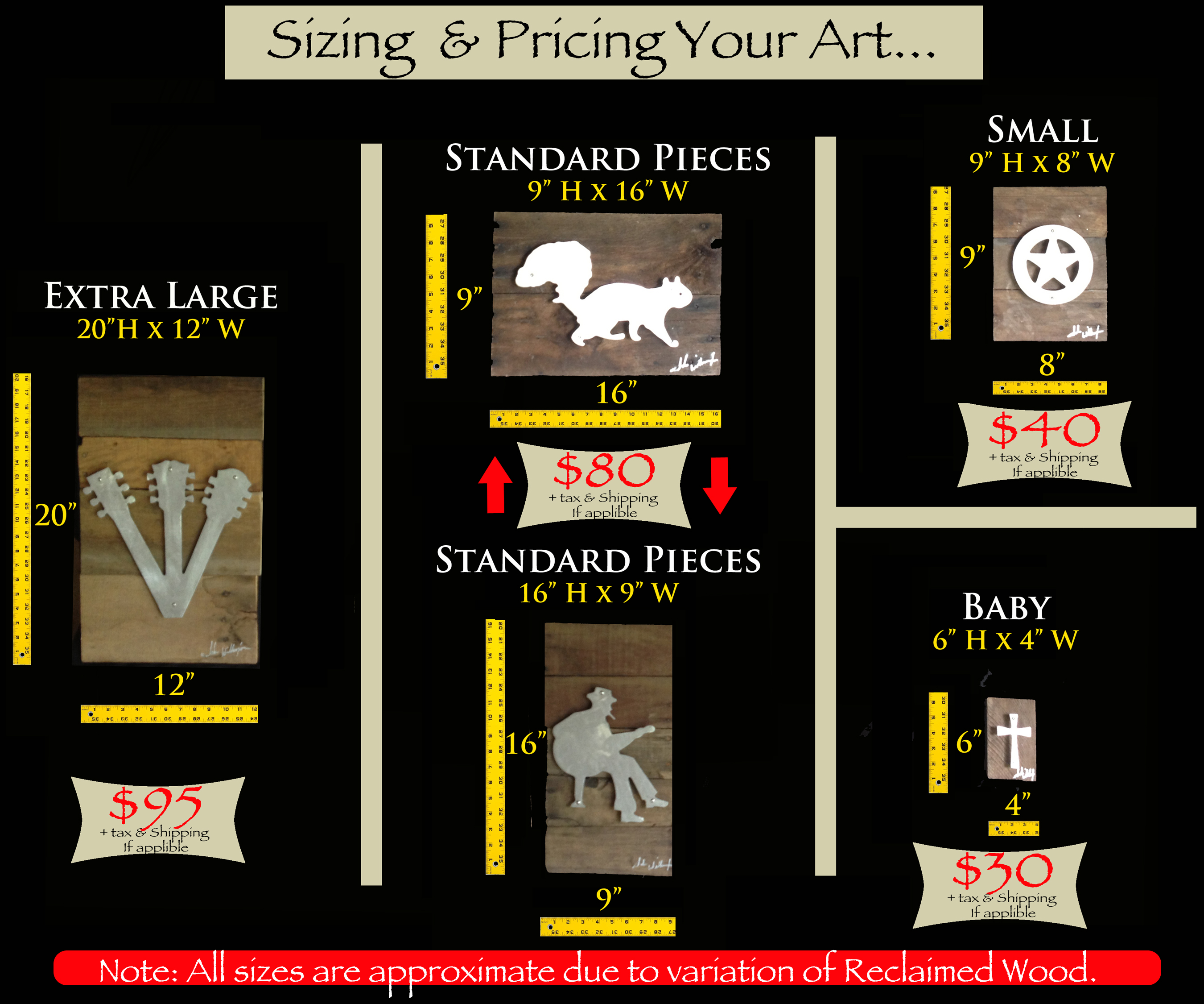 Size & Pricing Chart
