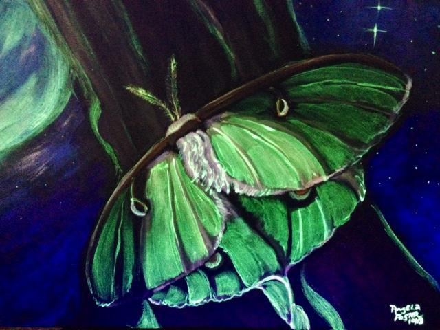 Luna Moth - Acrylic and Phosphorescent